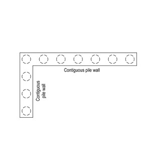 LOD 2 Plan representation of Contiguous pile retaining wall systems.