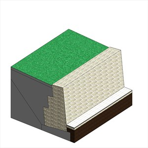 LOD 4 Model representation of Earthworks filling systems behind retaining walls.