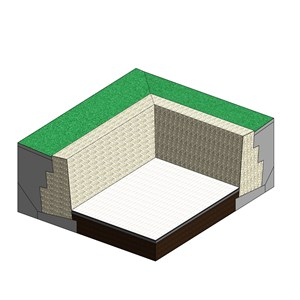 LOD 4 Model representation of Caged rock unit (gabion) retaining wall systems.