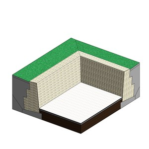 LOD 5 Model representation of Caged rock unit (gabion) retaining wall systems.