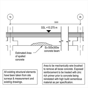 LOD 4 Elevation representation of Concrete repair systems.