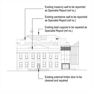 LOD 4 Elevation representation of Mortar repointing systems.
