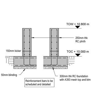 LOD 4 2D Detail representation of Reinforced concrete base or foundation systems.