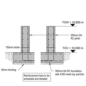 LOD 5 2D Detail representation of Reinforced concrete base or foundation systems.
