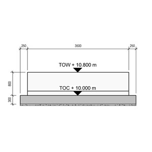 LOD 5 Elevation representation of Reinforced concrete base or foundation systems.