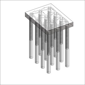 LOD 4 Model representation of In situ concrete augered piling systems.