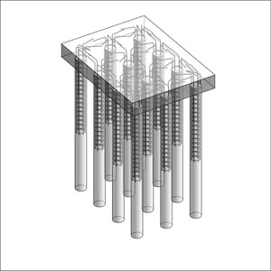 LOD 5 Model representation of In situ concrete augered piling systems.