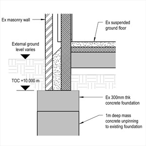 LOD 5 2D Detail representation of Mass concrete underpinning systems.