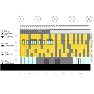 LOD 5 Elevation representation of Panelled and framed modular systems.