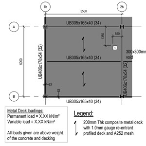 LOD 5 Plan representation of Composite steel and concrete floor, roof or balcony deck systems.