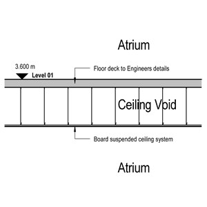 LOD 3 2D Section representation of Board suspended ceiling systems.