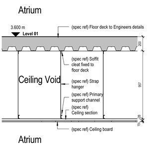 LOD 4 2D Section representation of Gypsum board suspended ceiling systems.