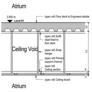 LOD 5 2D Section representation of Board suspended ceiling systems.