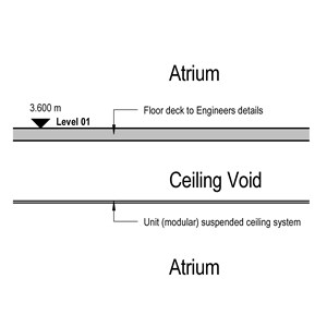 LOD 2 2D Section representation of Unit/ modular suspended ceiling systems.