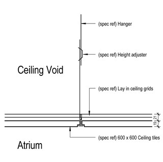 LOD 4 2D Detail representation of Unit/ modular suspended ceiling systems.