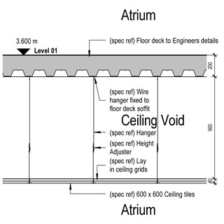 LOD 4 2D Section representation of Unit/ modular suspended ceiling systems.