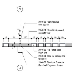 LOD 5 Elevation representation of In situ concrete roof glazing systems.