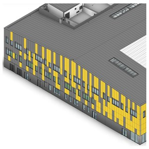 LOD 5 Model representation of Metal insulating sandwich panel roof systems.