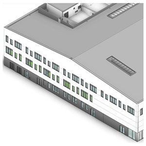 LOD 2 Model representation of Sloping patent glazing systems.