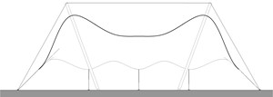 LOD 2 2D Section representation of Single layer tensile fabric roofing systems.
