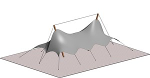 LOD 3 Model representation of Single layer tensile fabric roofing systems.
