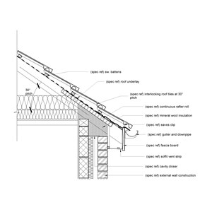LOD 5 2D Detail representation of Interlocking tile roofing systems.