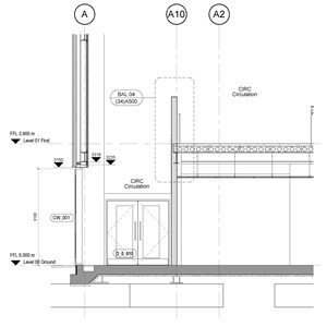 LOD 4 2D Section representation of Battened timber board floating floor systems.