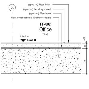 LOD 5 2D Detail representation of Bonded or partially bonded cementitious levelling screed systems.