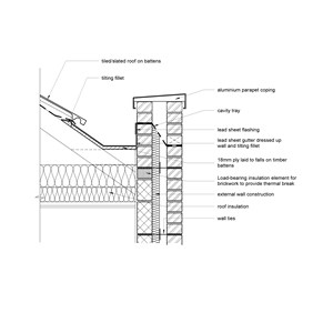 LOD 3 2D Detail representation of Lead sheet gutter lining systems.