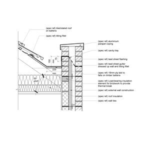 LOD 4 2D Detail representation of Lead sheet gutter lining systems.