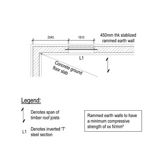 LOD 5 Plan representation of Stabilized rammed earth wall systems.