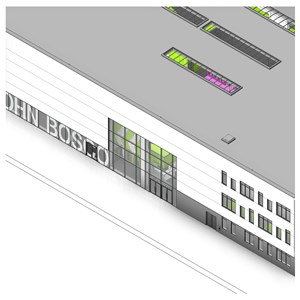 LOD 2 Model representation of Point-fixed structural glass wall systems.