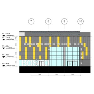 LOD 4 Elevation representation of Point-fixed structural glass wall systems.