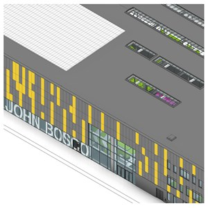 LOD 4 Model representation of Point-fixed structural glass wall systems.