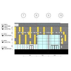 LOD 5 Elevation representation of Point-fixed structural glass wall systems.