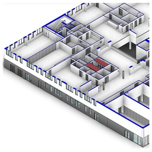 LOD 2 Model representation of Glass block wall systems.