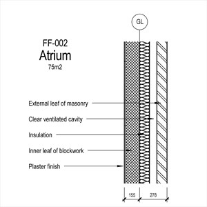 LOD 3 2D Section representation of Masonry wall external leaf systems.