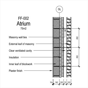 LOD 5 2D Section representation of Masonry external wall external leaf systems.