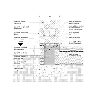 LOD 5 2D Detail representation of Framed straw bale wall systems.