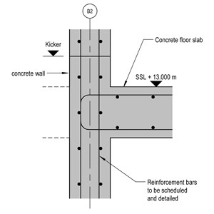 LOD 4 2D Detail representation of Reinforced concrete wall structure systems.