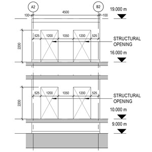 LOD 4 Elevation representation of Reinforced concrete wall structure systems.