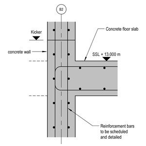 LOD 5 2D Detail representation of Reinforced concrete wall structure systems.