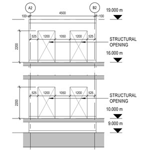 LOD 5 Elevation representation of Reinforced concrete wall structure systems.