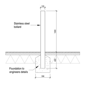 LOD 5 2D Section representation of Bollard systems.