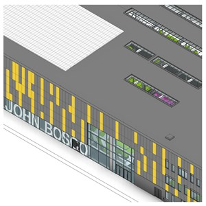 LOD 3 Model representation of Stick curtain walling systems.