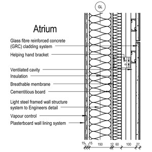 LOD 5 2D Section representation of GRC cladding systems.