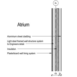 LOD 3 2D Section representation of Aluminium sheet cladding systems.