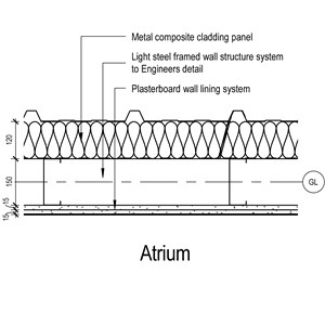LOD 5 Plan representation of Metal composite panel cladding systems.