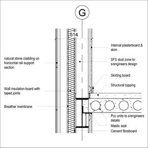 LOD 3 2D Section representation of Natural stone cladding systems.