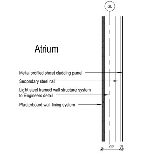 LOD 3 2D Section representation of Metal profiled sheet self-supporting cladding systems.